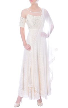 Ivory anarkali dress with embellished bodice