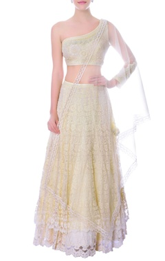 Ivory double layer one sided crop top & lehenga set
