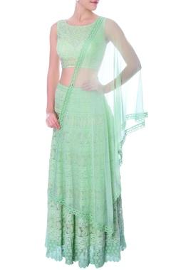 Mint green embellished crop top and lehenga set
