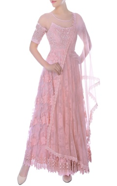 pink anarkali dress with a sheer neckline