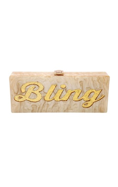 Champagne & gold 'Bling' monogrammed clutch
