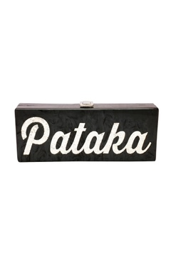 House Of Bio Black & silver 'Pataka' monogrammed clutch