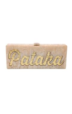 House Of Bio Champagne & gold 'Pataka' monogrammed clutch