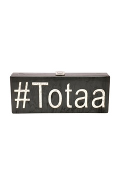 Black & silver 'Totaa' monogrammed clutch