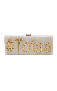 House Of Bio White & gold 'Totaa' monogrammed clutch