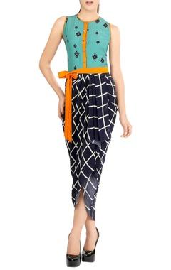 multi-colored asymmetric drape dress