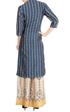 Denim blue high low kurta & printed palazzo pants
