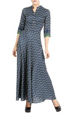 Navy blue printed maxi dress