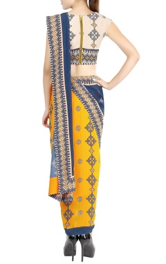 Off-white cropped top & mustard printed sari