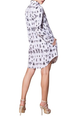 white insect print shirt dress