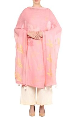 Pastel pink block print kurta set