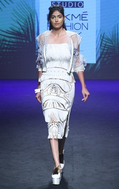 White fringed dress with cutwork details