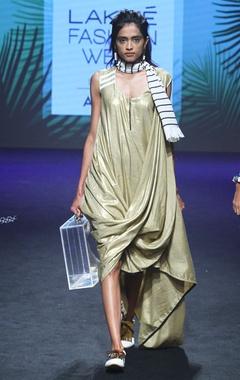 Gold drape dress with zipper detail