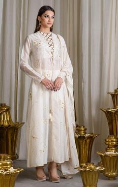 Ivory embellished jacket kurta set