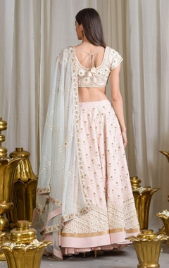 Pale pink floral embroidered lehenga set