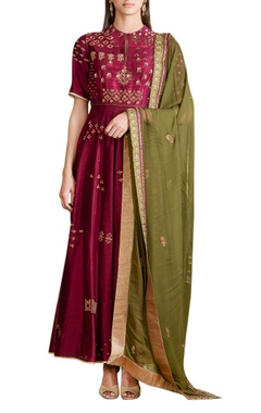 wine chanderi embellished anarkali set