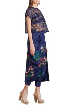Indigo draped skirt with sheer embellished top