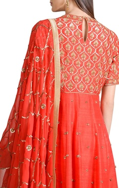 Orange & gold jaal work anarkali set