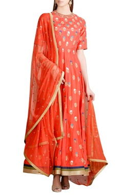 Orange hand embroidered anarkali set