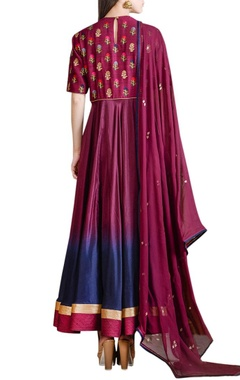 Wine shaded anarkali set