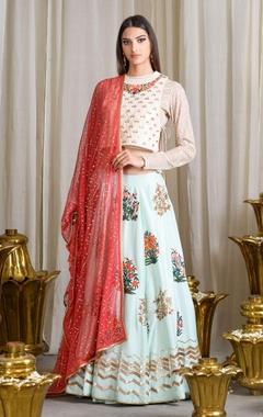 beige & mint blue embroidered lehenga set