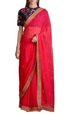 navy blue floral blouse with pink georgette sari