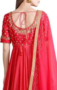 raspberry pink embroidered anarkali set