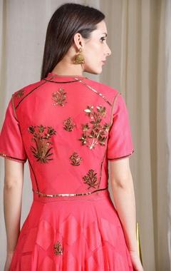 Coral pink embellished lehenga set with jacket