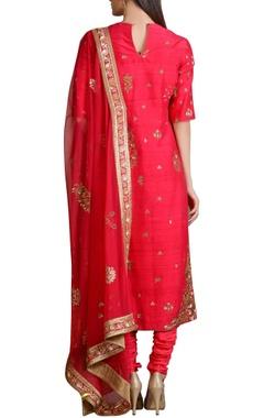 Raspberry pink sequined embroidered kurta set