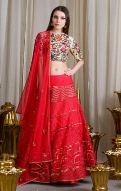 red & beige embroidered lehenga set