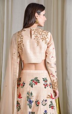 beige embroidered lehenga set