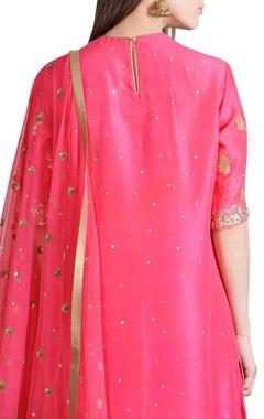 Rani pink embroidered kurta set