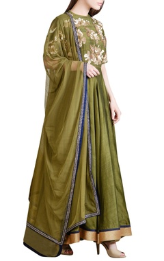 Olive green sequin embroidered anarkali set