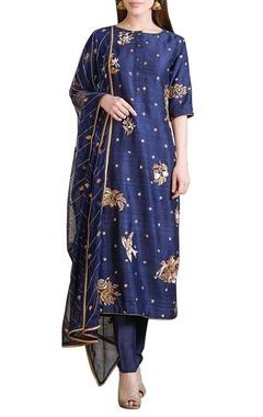 indigo hand embroidered kurta set