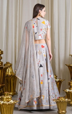 Grey applique work lehenga set