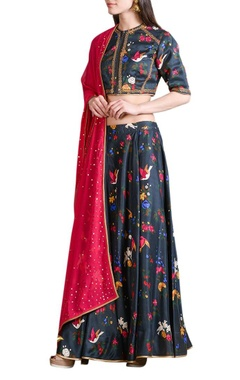 Black digital printed lehenga set