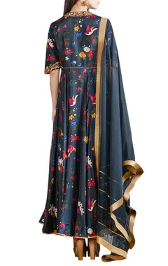 Navy blue printed anarkali set