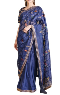 Navy blue embroidered sari & blouse