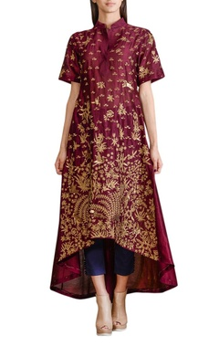 Wine high low embellished tunic