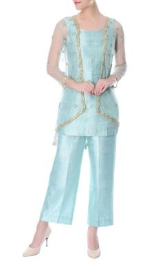 aqua blue silk co-ord set with embellished jacket