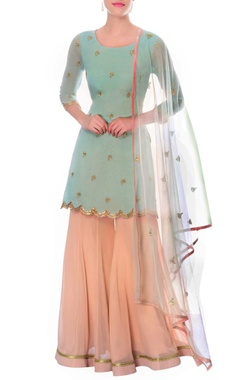 Pastel blue kurta & powder pink sharara with dupatta