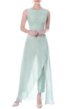 Pastel blue wrap kurta with raw silk pants