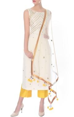 Ivory mirror work kurta with culottes & dupatta