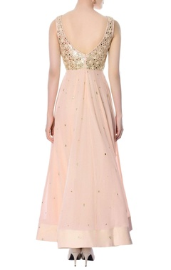 Pastel pink embroidered anarkali with dupatta
