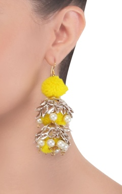 yellow pom pom drop earrings