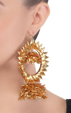 Gold & orange gota hoop earrings