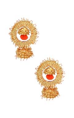 Orange & gold drop earrings
