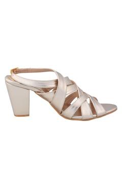 Dull gold criss cross block heels