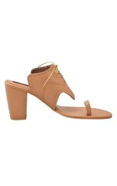 Tan criss cross block heels