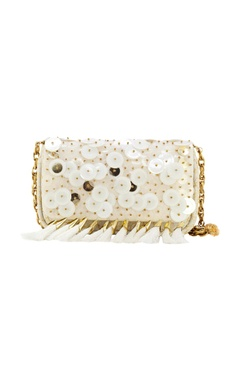 white clutch with plastic & metal discs.